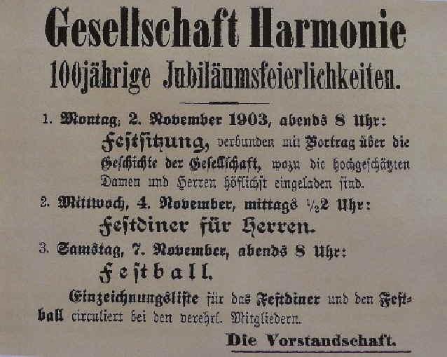 100 Jahre Gesellschaft Harmonie e.V. Bayreuth